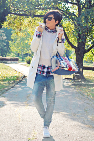 blue Bershka jeans - beige Mango coat - blue Cortefiel shirt