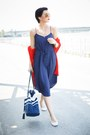 Navy-lindex-dress-red-lindex-sweater-navy-lindex-bag