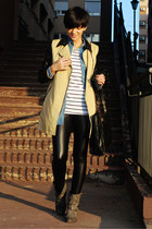 camel Choies coat - charcoal gray Krissbo boots - black Choies leggings