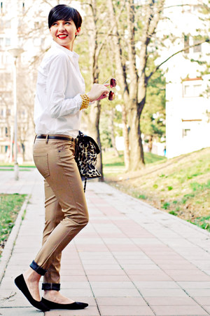 black H&M flats - white Stradivarius shirt - camel Lookat bag