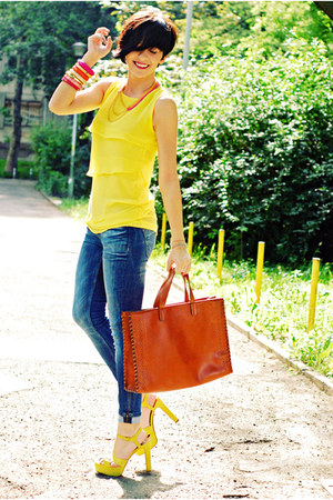 yellow Zara sandals - yellow Sheinside dress - blue Zara jeans
