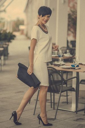 white lindex blouse - black lindex bag - white lindex skirt - black Zara pumps