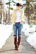 crimson Stradivarius boots - camel Guess jeans - blue Handmade by my mom sweater