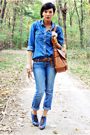 navy Novecento heels - blue Mango jeans - blue Gas shirt - tawny Mango bag