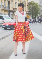 coral chic skirt - white chic t-shirt - black Aldo pumps