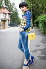navy 6ks shirt - blue lindex jeans - yellow pull&bear bag - navy Zara pumps