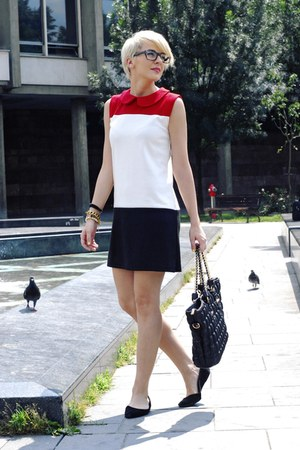 white chicnova dress - black romwe bag - black H&M flats