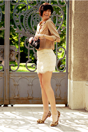 eggshell New Yorker skirt - camel Bershka shirt - dark brown Glam up bag