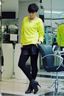 Black-oasap-boots-yellow-choies-sweater-black-stradivarius-shorts