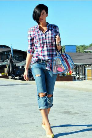 blue Guess jeans - light yellow Bershka shoes - blue Cortefiel shirt