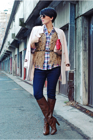eggshell OASAP coat - dark brown Stradivarius boots - blue Cortefiel shirt