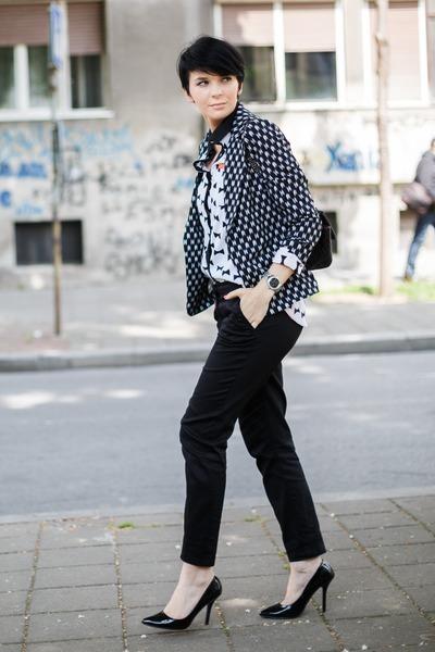 black Waokao bag - gray Sheinside blazer - white Sheinside shirt