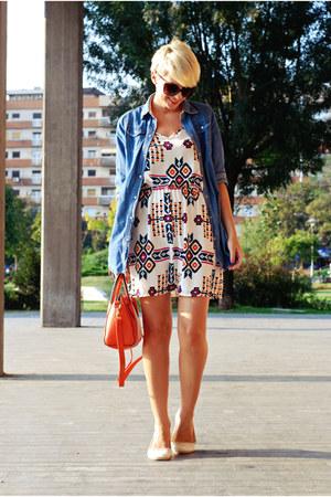 white Style Lately dress - blue Sheinside shirt - carrot orange chicnova bag