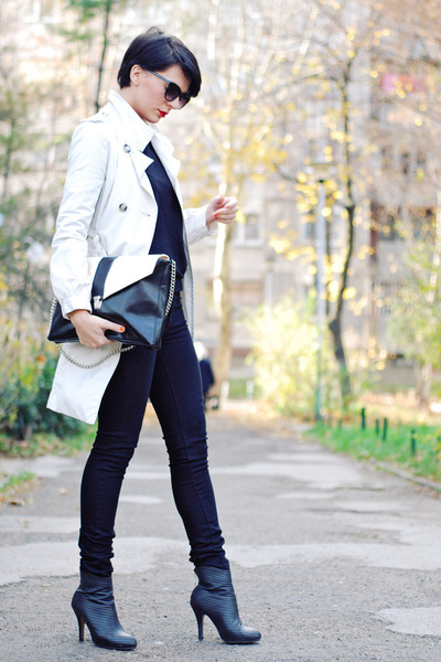 black OASAP boots - cream Mango coat - black Mango jeans