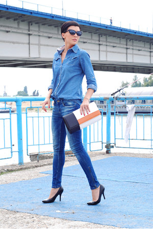 blue Zara jeans - blue Sheinside shirt - white Mistral bag