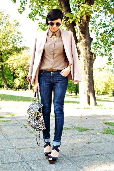 camel pull&bear blazer - blue Zara jeans - dark brown Lookat bag