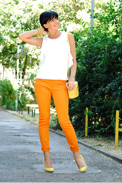 yellow Bershka shoes - orange pull&amp;bear jeans - white M-puls Moda shirt