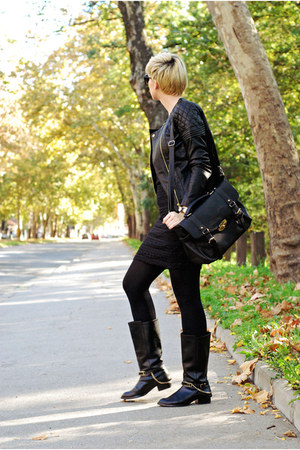 black choiescom boots - black lindex dress - black lindex jacket