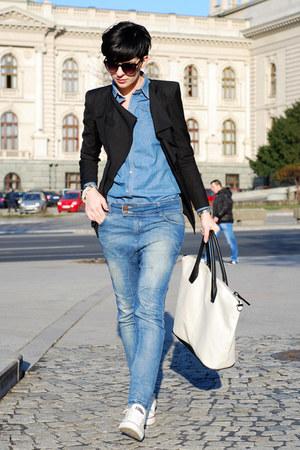 Sheinside blazer - Bershka jeans - Sheinside shirt - H&M bag - Converse sneakers