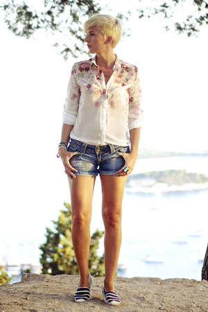 chiffon Sheinside shirt - denim Stradivarius shorts - Aqua flats