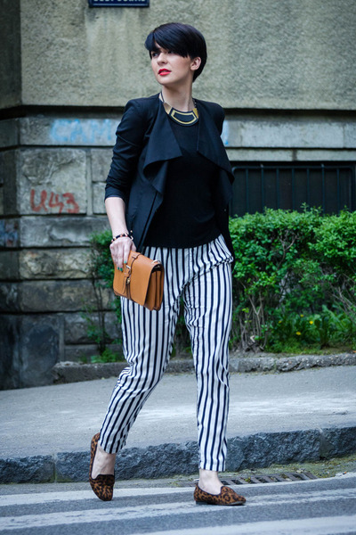 black Sheinside blazer - tawny OASAP bag - white Sheinside pants
