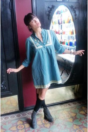 vintage dress dress - acne shank boots - OTK socks