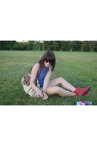 black sunglasses - blue top - shorts - beige purse - red boots