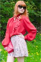 red chiffon vintage blouse - hot pink clutch H&M bag
