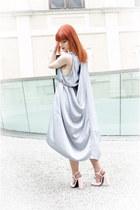 light blue cape back asos dress - bubble gum Zara heels