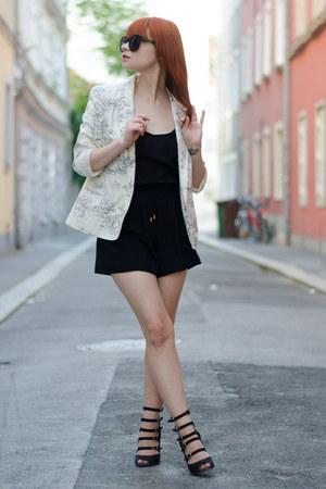 scenic print asos blazer - O3 Eyewear sunglasses - H&M romper