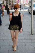 gold denim H&M shorts - orange suede bag - black lace Orsay vest