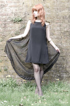black cape back RARE dress - bronze lame SMH heels