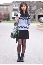 charcoal gray chicnova sweater - black combat boots