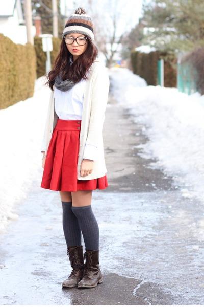 ruby red skirt - dark brown boots - gray socks - off white cardigan