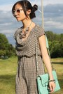 Aquamarine-lulus-bag-white-houndstooth-dress