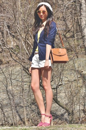 yellow top - brown asos bag - white shorts - red heels