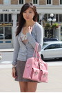 Brown-h-m-skirt-pink-bag-heather-gray-h-m-cardigan-teal-guess-pumps