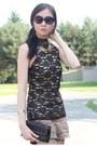 Black-lace-top-black-bag-light-brown-forever-21-shorts-bronze-wedges