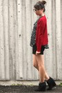 Black-top-ruby-red-cardigan