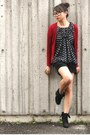 Ruby-red-cardigan-black-top