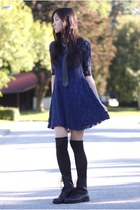 black leather tie - black boots - navy lookbookstore dress