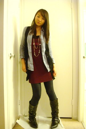 crimson Costa Blanca dress - navy Forever 21 leggings - blue Forever 21 shirt -