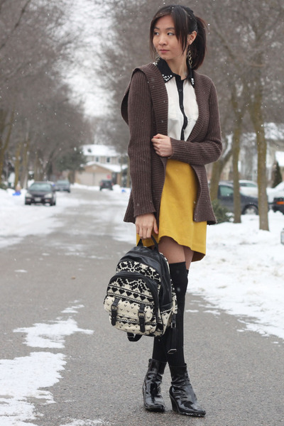 black socks - dark brown cardigan - mustard skirt - white blouse