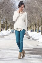 brown leopard heels - teal Joe Fresh jeans - ivory sweater