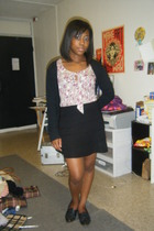 H&M shirt - Urban Outfitters outt skirt - aa sweater - thrifted shoes