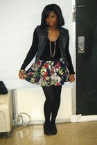 blue vest - black sweater - blue skirt - black stockings - black shoes