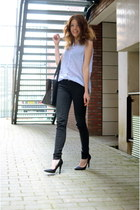 H&M blouse - Zara jeans - romwe bag - Nelly heels