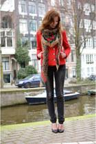 Forever 21 jacket - vintage jeans - vintage scarf - Nelly heels