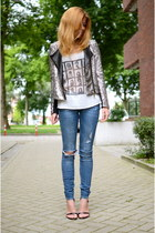 River Island jacket - H&M jeans - Nelly heels - brandy melville top