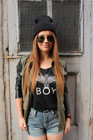 black cotton American Apparel hat - army green miltary Zara jacket